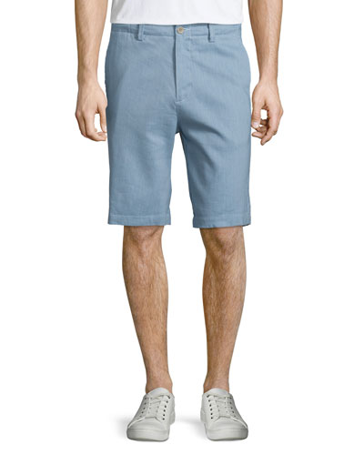 Flat-Front Linen Shorts