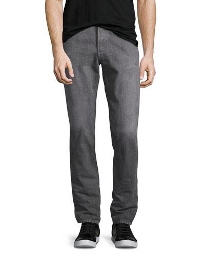 M001 Kane Relaxed-Slim Jeans, Medium Gray