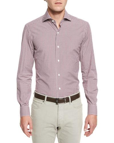 Box-Check Long-Sleeve Sport Shirt, Red