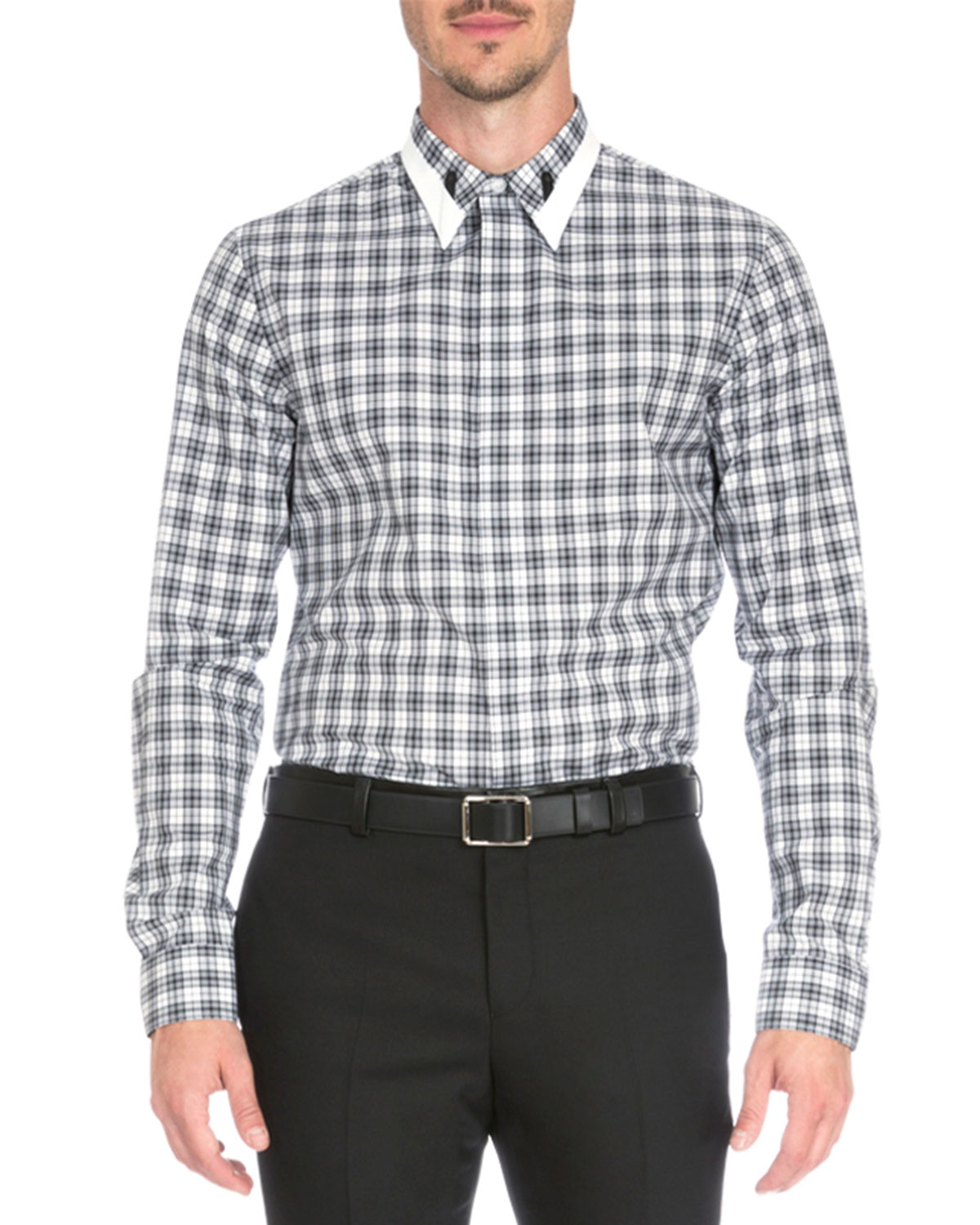 Plaid Shirt with Contrast Collar, Black