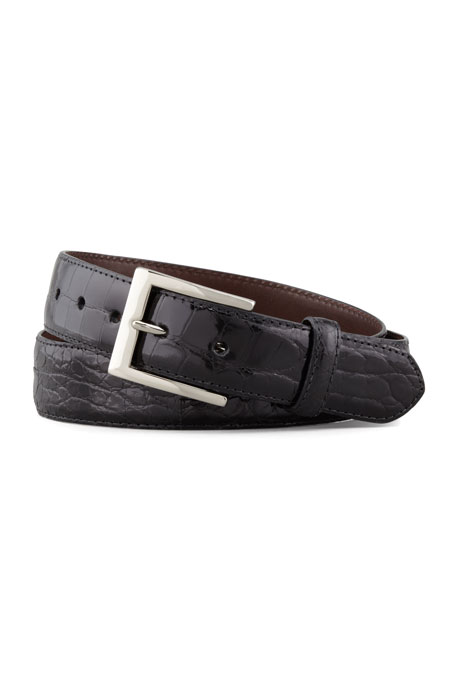 W. Kleinberg Matte Alligator Belt, Black