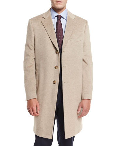 Cashmere Three-Button Long Coat, Oatmeal