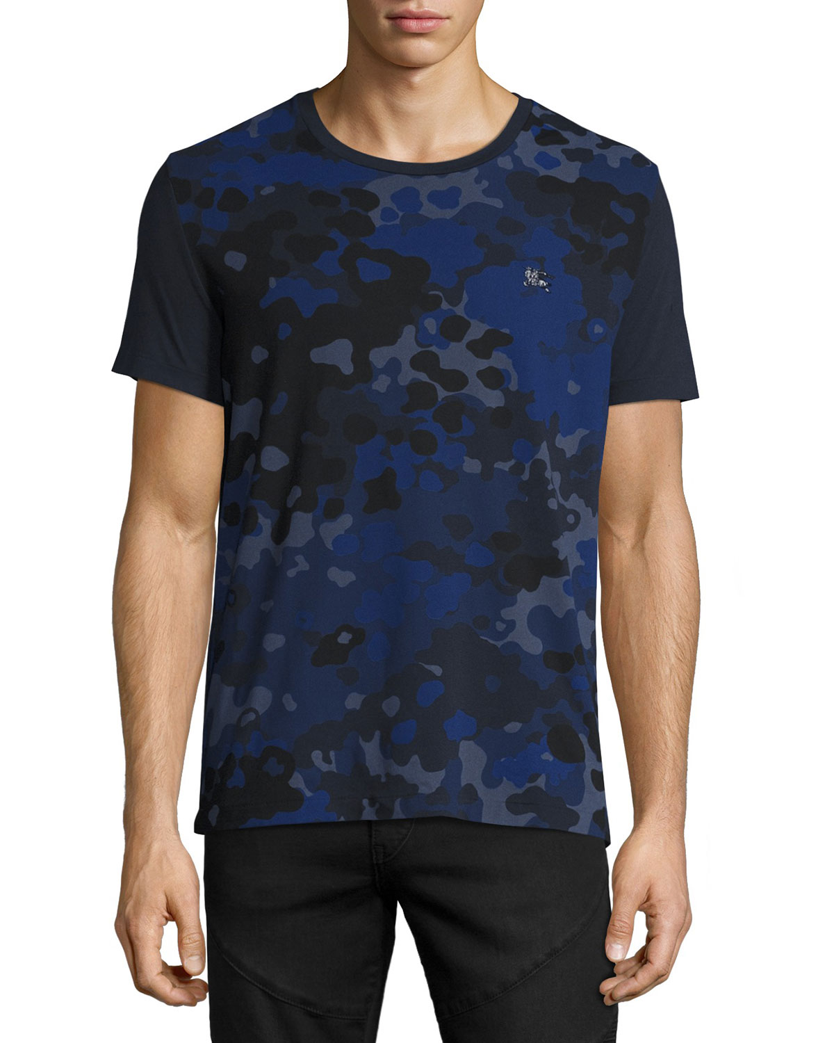 NAVY ALLOVER CAMO PRNT S/S T