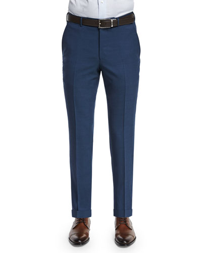 High-Performance Wool Twill Trousers, Blue
