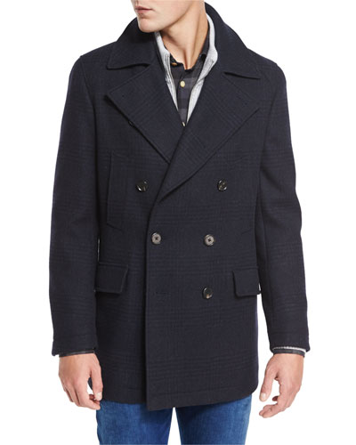 Plaid Wool Pea Coat, Navy