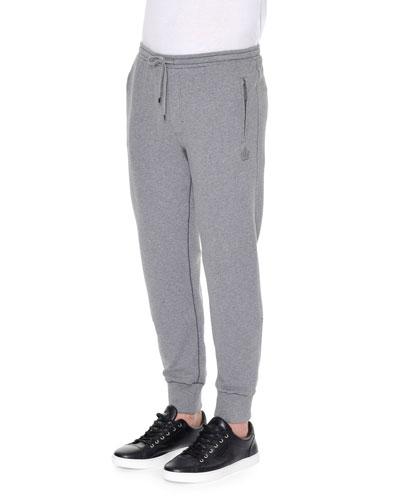 Crown-Logo Knit Sweatpants, Gray