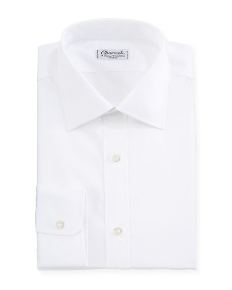 Charvet Solid Poplin Dress Shirt, White