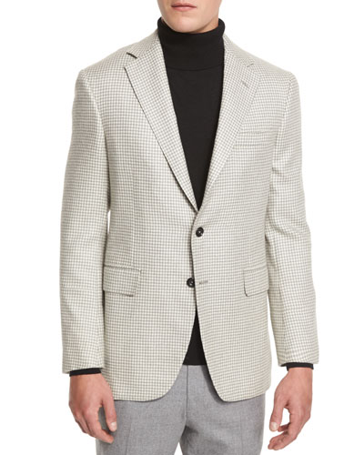 Houndstooth Two-Button Sport Coat, Gray/White