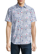 Geo-Print Short-Sleeve Woven Shirt, Multi