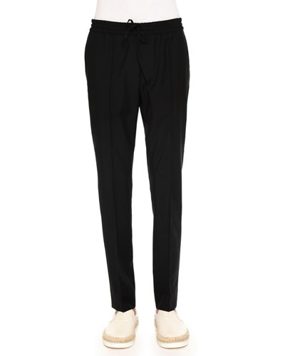 Tapered-Leg Drawstring Trousers, Black