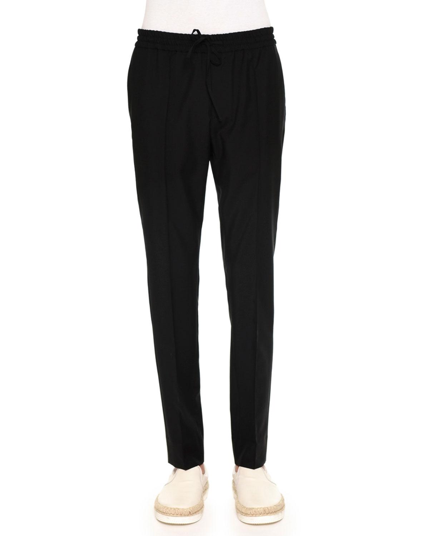 Tapered-Leg Drawstring Trousers, Black