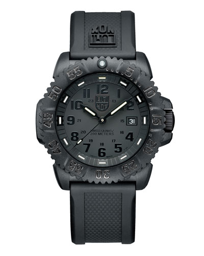 44mm Navy SEAL 3050 Series Colormark Watch, Black