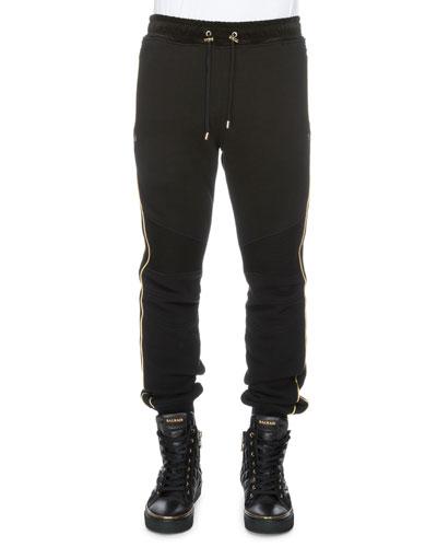 Cotton Sweatpants w/Metallic Piping, Black