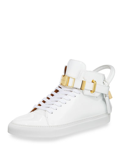 Men's 100mm Patent Leather High-Top Sneaker, White