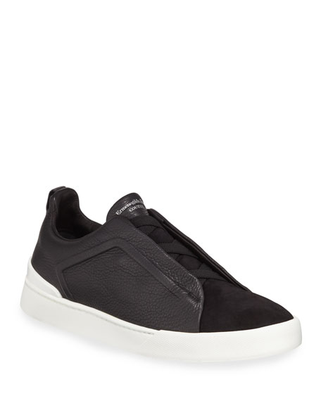 Ermenegildo Zegna Men's Couture Triple-Stitch Leather & Suede Low-Top Sneakers, Black