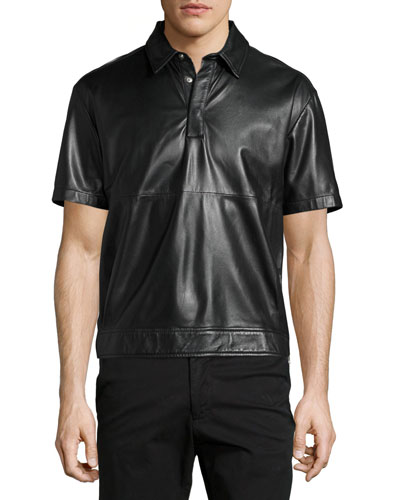 Hero 02 Lamb Leather Short-Sleeve Shirt, Darkest Black