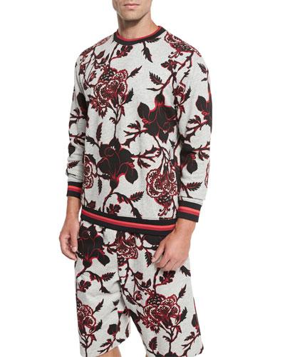 Floral-Print Crewneck Sweatshirt with Striped Trim, Gray