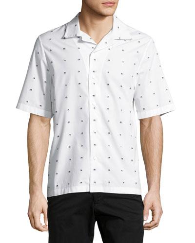 Billy Swallow-Print Short-Sleeve Sport Shirt, White