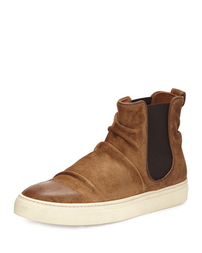 Reed Sharpei Leather Chelsea High-Top Sneaker, Dark Brown