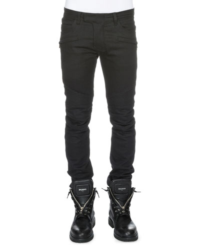 Clean Stretch-Denim Biker Jeans, Black