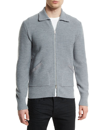 Tuck-Stitched Merino Knit Jacket with Suede Trim, Gray
