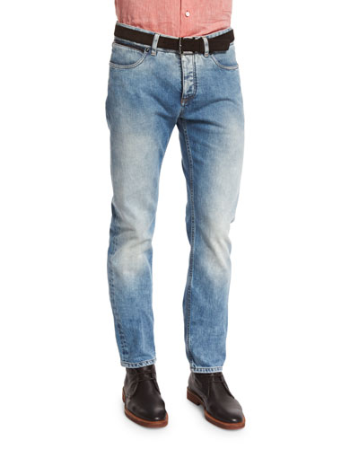 Slim-Fit Light-Wash Lux Denim Jeans, Blue