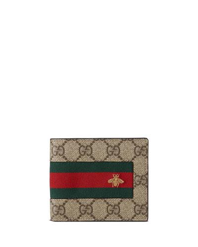 Web GG Supreme Bi-Fold Wallet with Bee, Beige