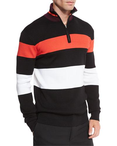 Colorblock Stripe 1/4-Zip Pullover, Darkest Black