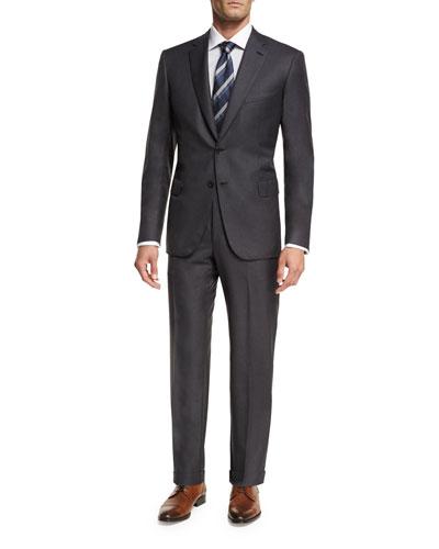 Essential Virgin Wool Two-Piece Suit, Gray