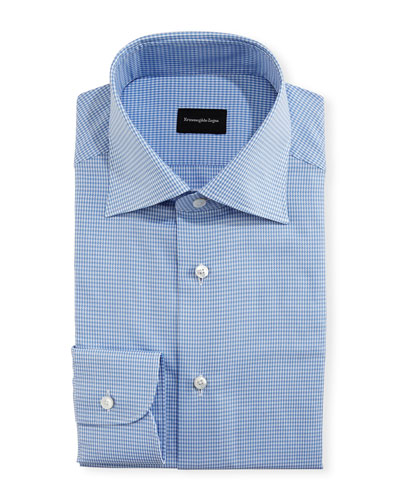 Mini-Houndstooth Twill Dress Shirt, Royal/White