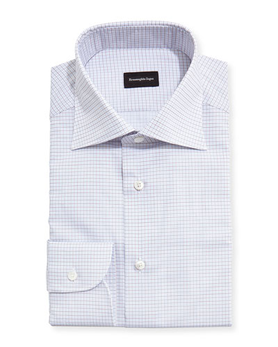 Grid-Check Dress Shirt, White/Light Blue/Brown