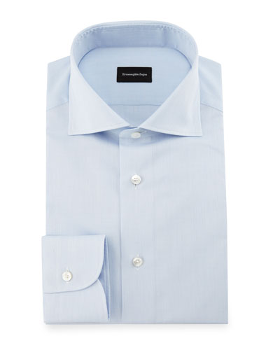 Micro-Grid Dress Shirt, Light Blue