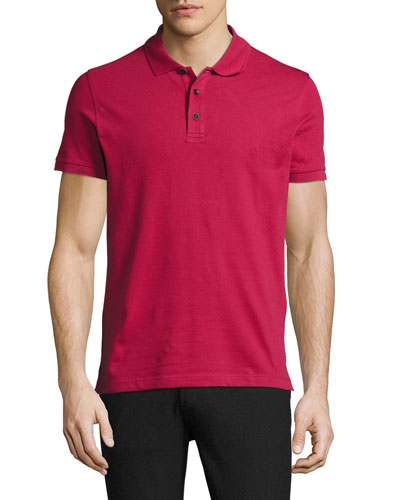 Stretch-Cotton Polo Shirt, Berry Red