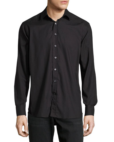 Dot-Print Cotton Shirt, Black