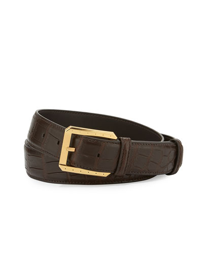 Crocodile Belt w/Golden Buckle, Black