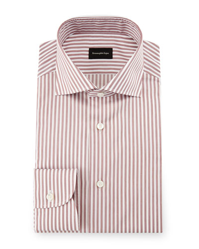 Bold-Stripe Dress Shirt, Burgundy/White