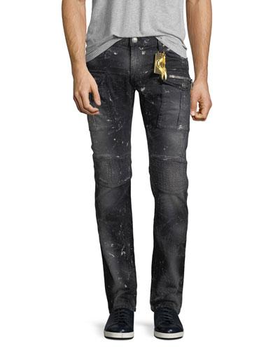 Tintin Long-Flap Moto Jeans, Black