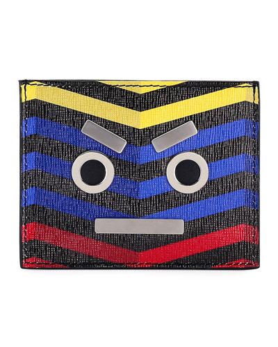 Face Chevron Leather Card Case
