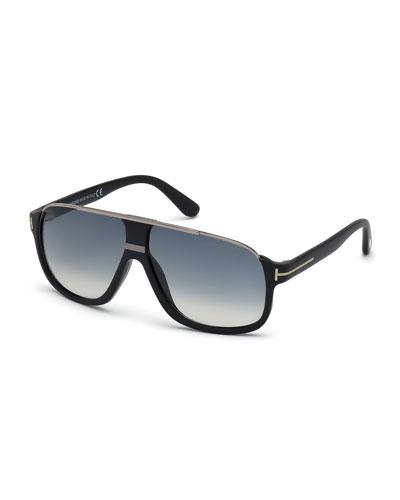 Elliot Universal-Fit Aviator Sunglasses, Shiny Black/Shiny Ruthenium