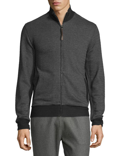Jacquard Knit Track Jacket, Charcoal