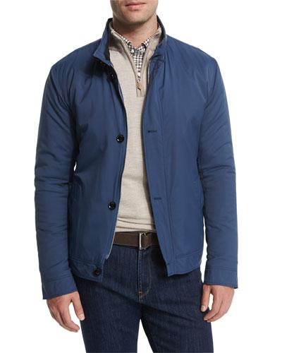 Mayfair Nylon Bomber Jacket, Blue