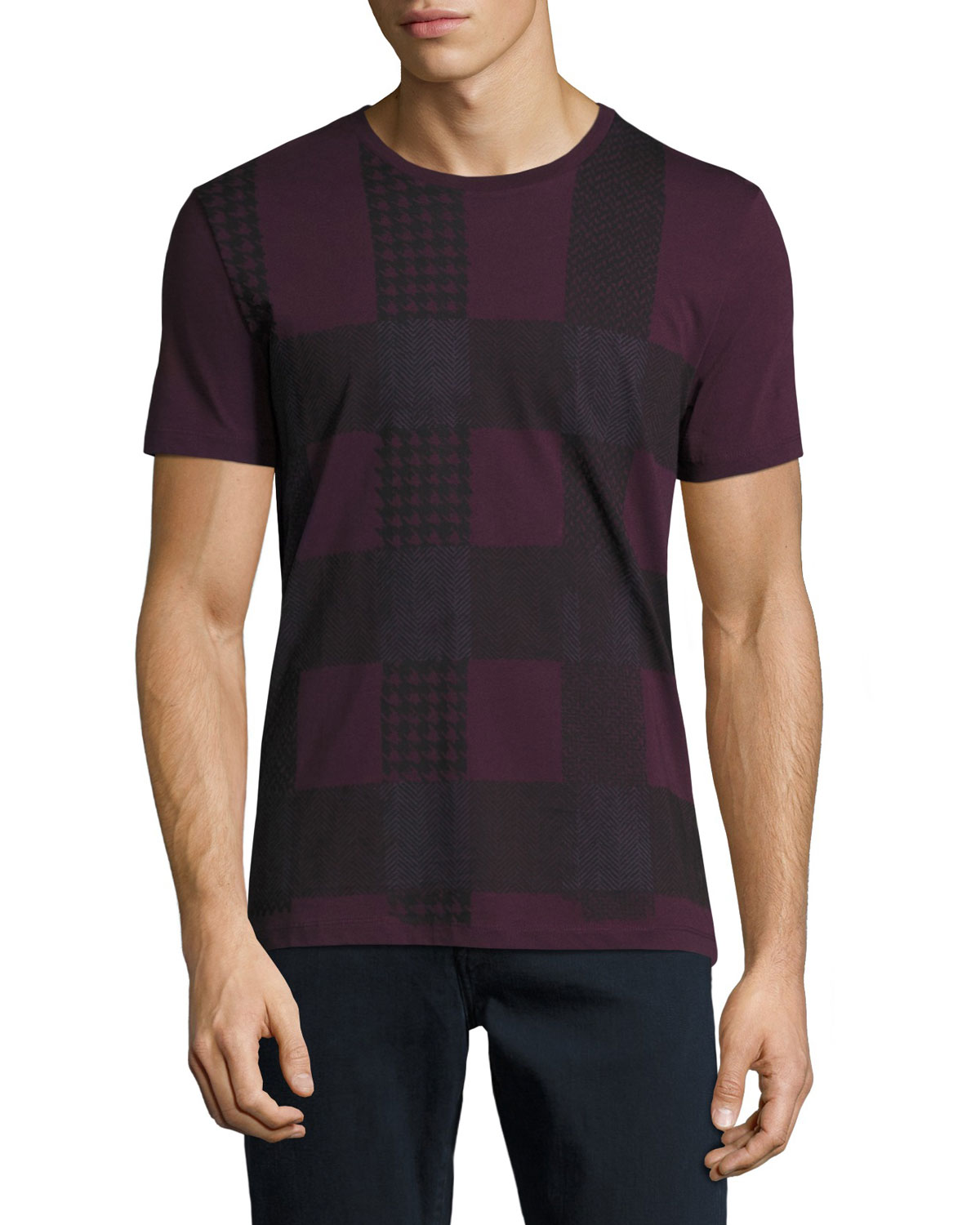 Ashby Check Graphic T-Shirt, Dark Elderberry