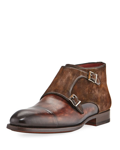 Leather Double-Monk Boot