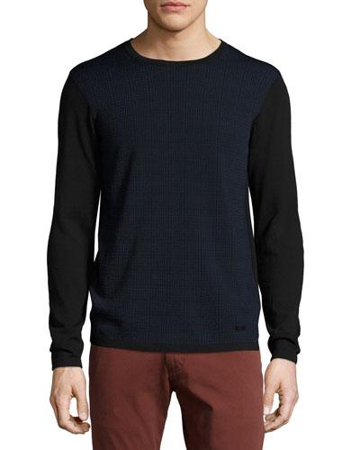 Jacquard-Front Crewneck Sweater, Navy