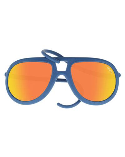 Drop Universal Fit Rubber Aviator Sunglasses, Blue/Orange