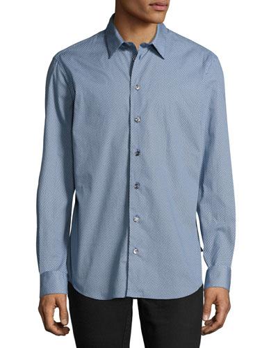 Gingham Sport Shirt, Blue/White