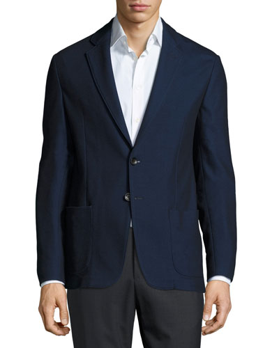 Soft Two-Button Sport Jacket, Navy