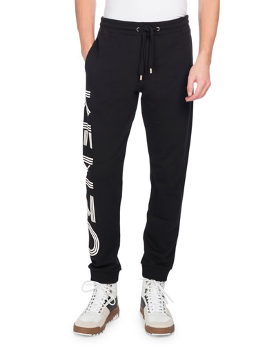 KENZO Printed Blue Cotton Jogging Trousers in Black