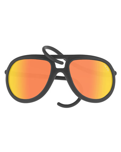 Drop Universal Fit Rubber Aviator Sunglasses, Black/Orange