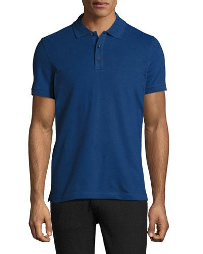 Stretch-Cotton Polo Shirt, Blue